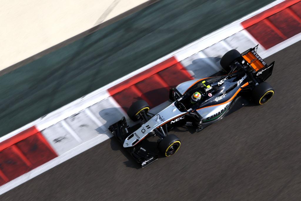 Sergio Perez (MEX) Sahara Force India F1 VJM08. Abu Dhabi Grand Prix, Saturday 28th November 2015. Yas Marina Circuit, Abu Dhabi, UAE.