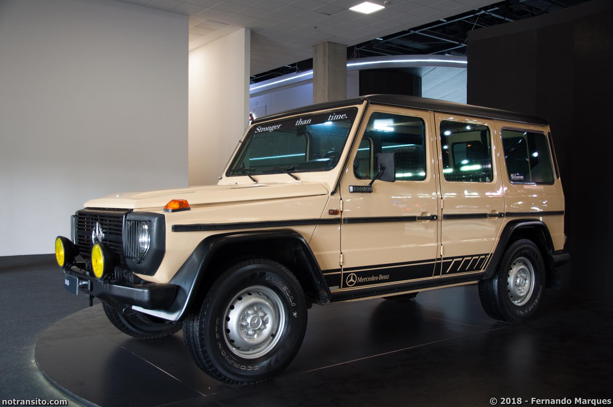 A marca expôs o Classe G 380 SEL, ano 1981, em homenagem ao lançamento da nova geração.